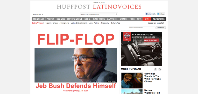 Screenshot of The Huffington Post's Latino Voices section front page (March 10, 2013, 6:40 PM)
