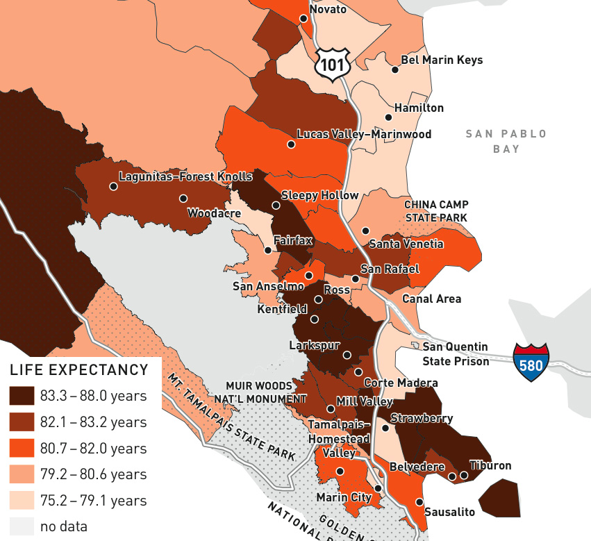 Average life expectancy by Census tract in Marin (2010)