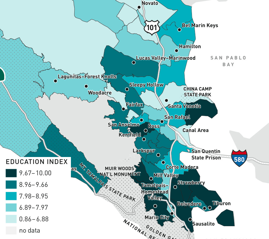 Education index score by Census tract in Marin (2010)