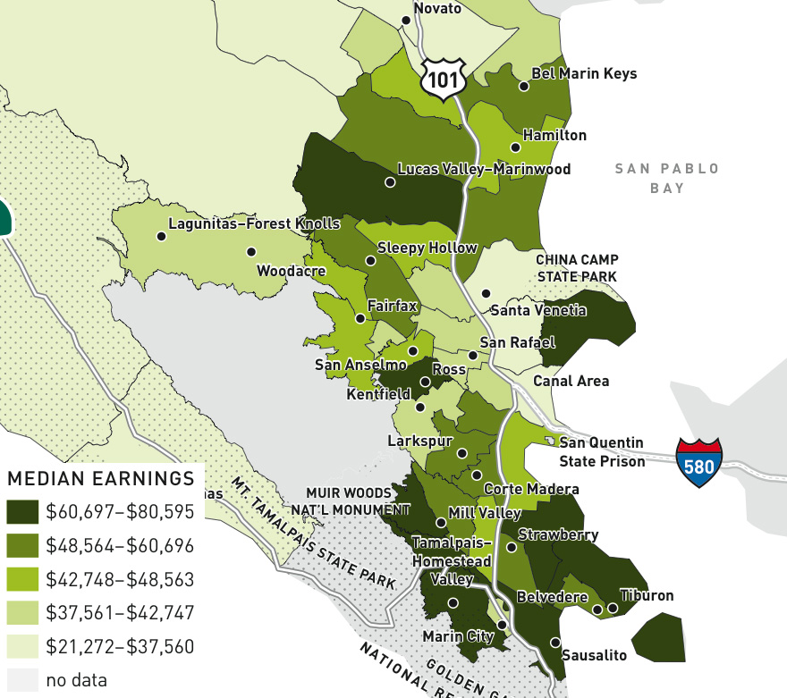 Median earnings by Census tract in Marin (2010)